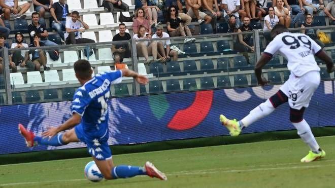 Il gol dell'1-1 di Barrow (foto Schicchi)